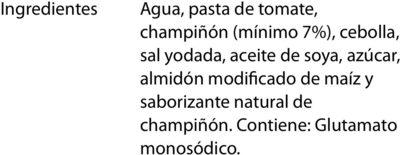 SALSA PARA PASTA CON CHAMPIÑONES - Ingrediënten - es