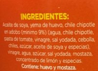 Mayonesa con chile chipotle - Ingrédients - es