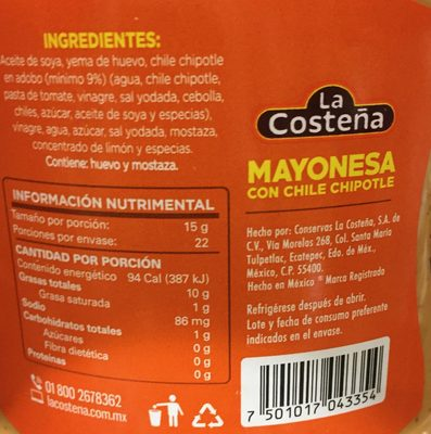Mayonesa con chile chipotle - Informations nutritionnelles