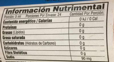 Salsa Chile Hab Rojo - Voedingswaarden - es