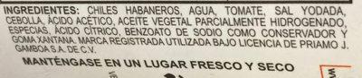 Salsa picante de chile habanero tipo Kutbil Ik - Ingredientes - es