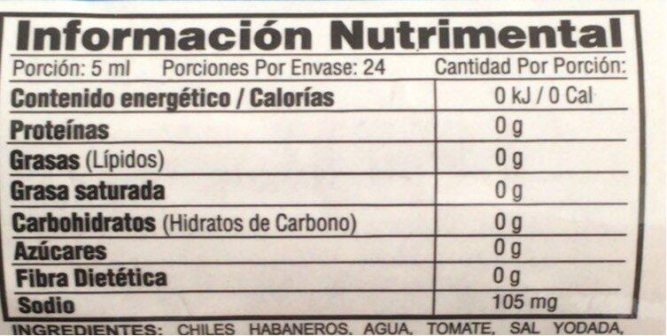 Salsa picante de chile habanero tipo Kutbil Ik - Información nutricional - es