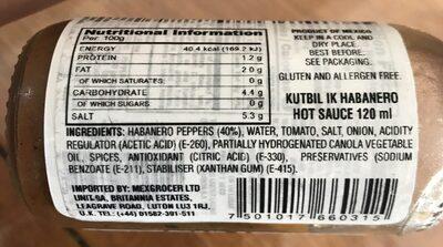 El Yucateco Xxxtra Hot Sauce Salsa Kutbil-ik De Chile Habanero - Ingredientes - en