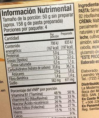 Spaghetti con Crema - Información nutricional