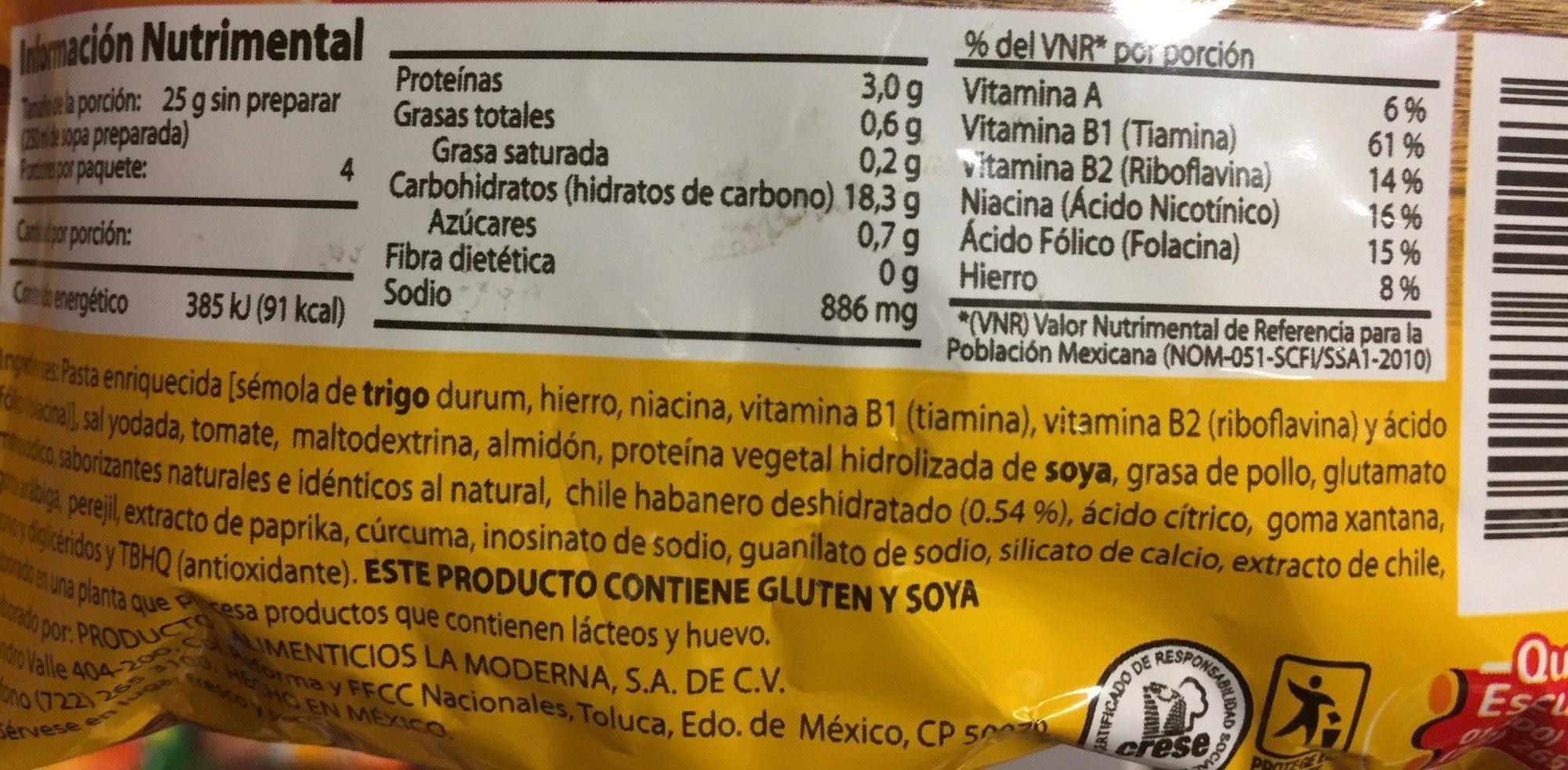 sopa de coditos abanero - Ingrediënten - es