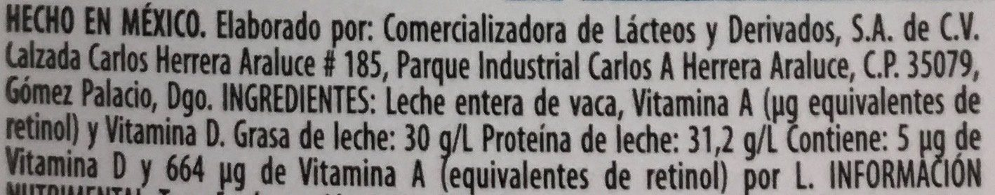 LECHE MONARCA ENTERA - Ingredients - es