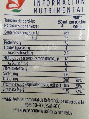 LALA deslactosada - Información nutricional - es