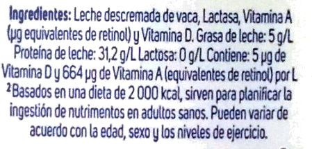 Leche Lala Deslactosada Light - Ingrediënten - es