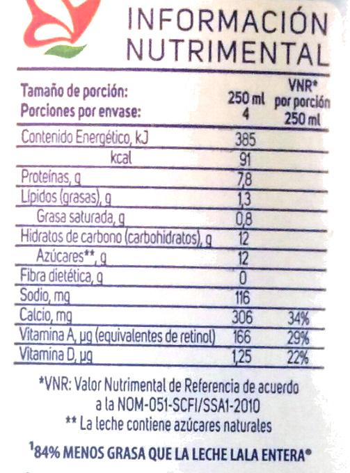 Leche Lala Deslactosada Light - Voedingswaarden - es