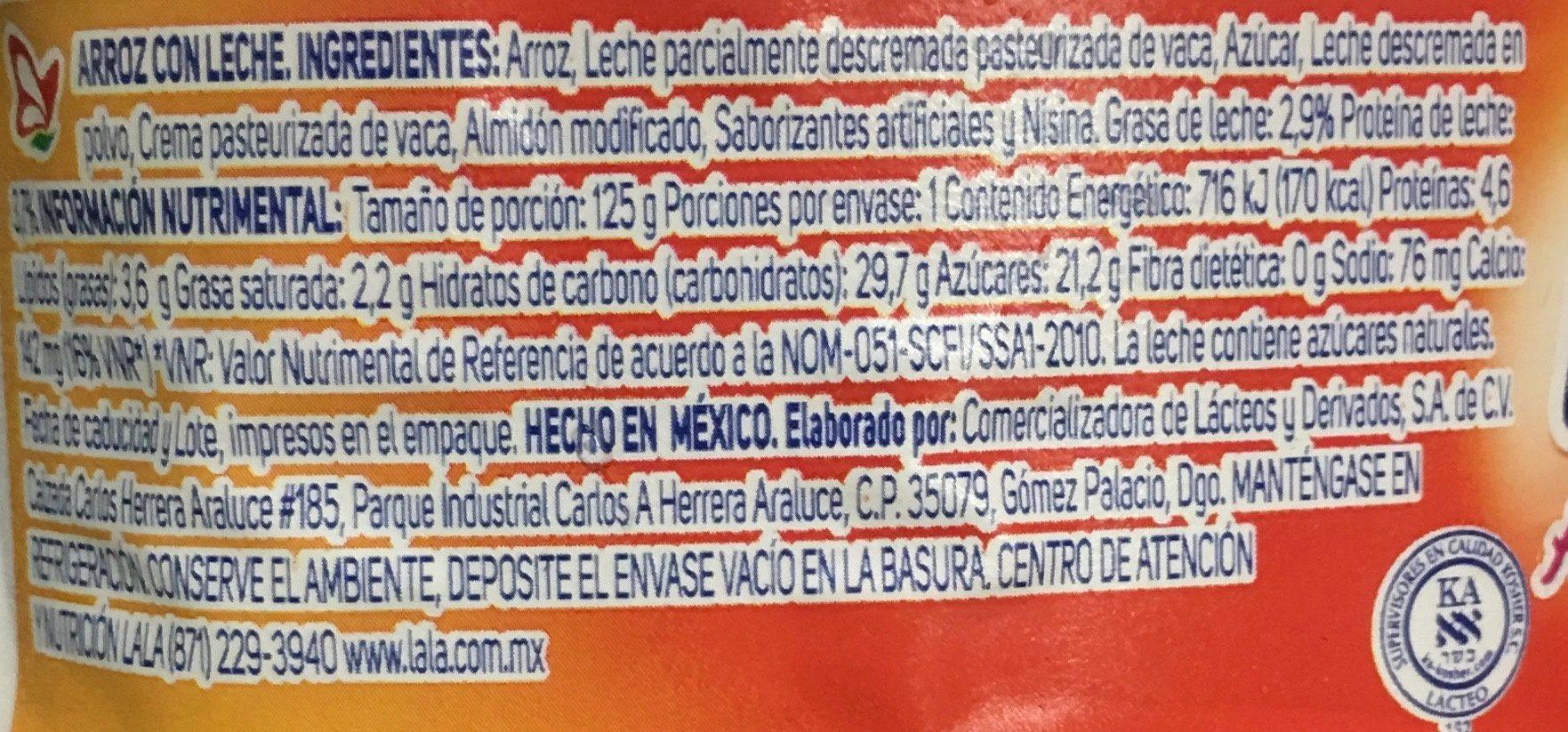 Arroz con Leche Lala - Nutrition facts - es