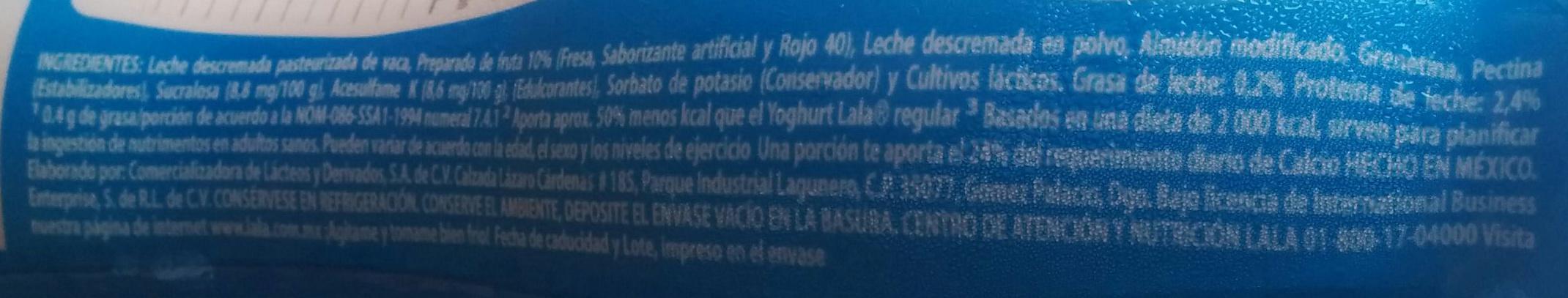 Yoghurt Lala Light sabor fresa - Ingredientes - es