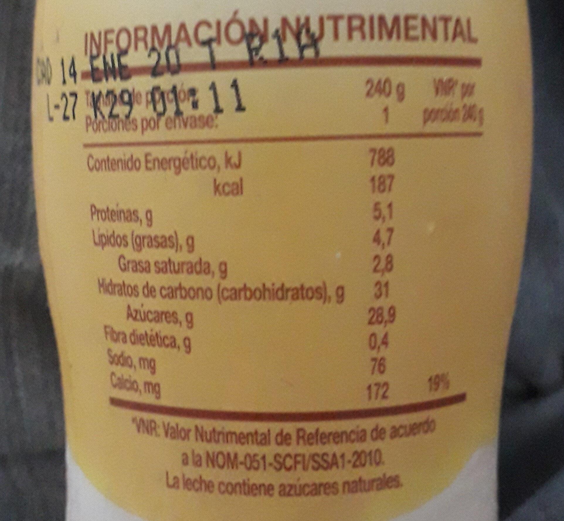licuado de yoghurt c/ FRUTA NUEZ - Nutrition facts