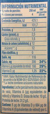 Borden Leche Light - Nutrition facts - es