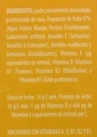 Leche Lala frutas sabor mango - Ingrédients - es