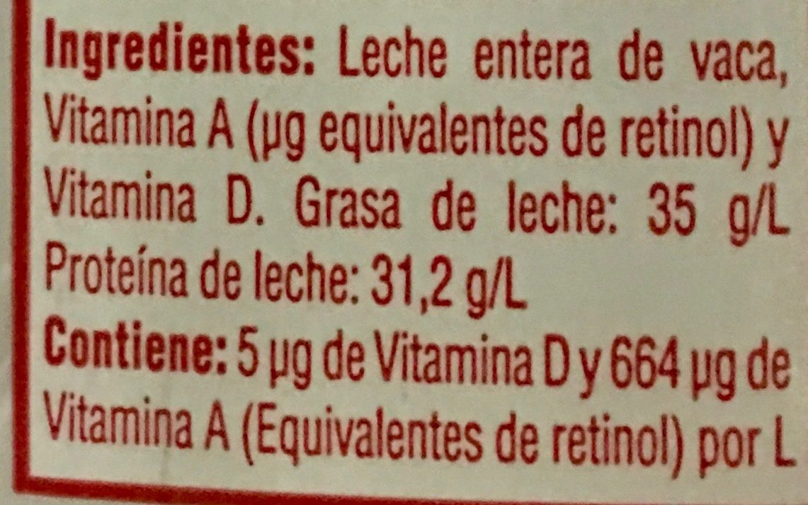 Leche entera Borden - Ingredients - es