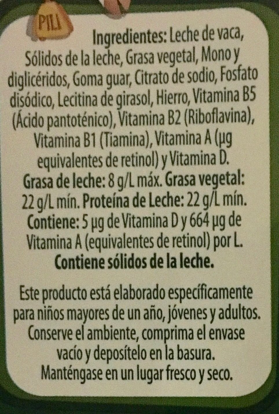 Nutri - Ingredientes - es