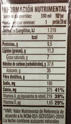 Leche sabor chocolate - Nutrition facts - es
