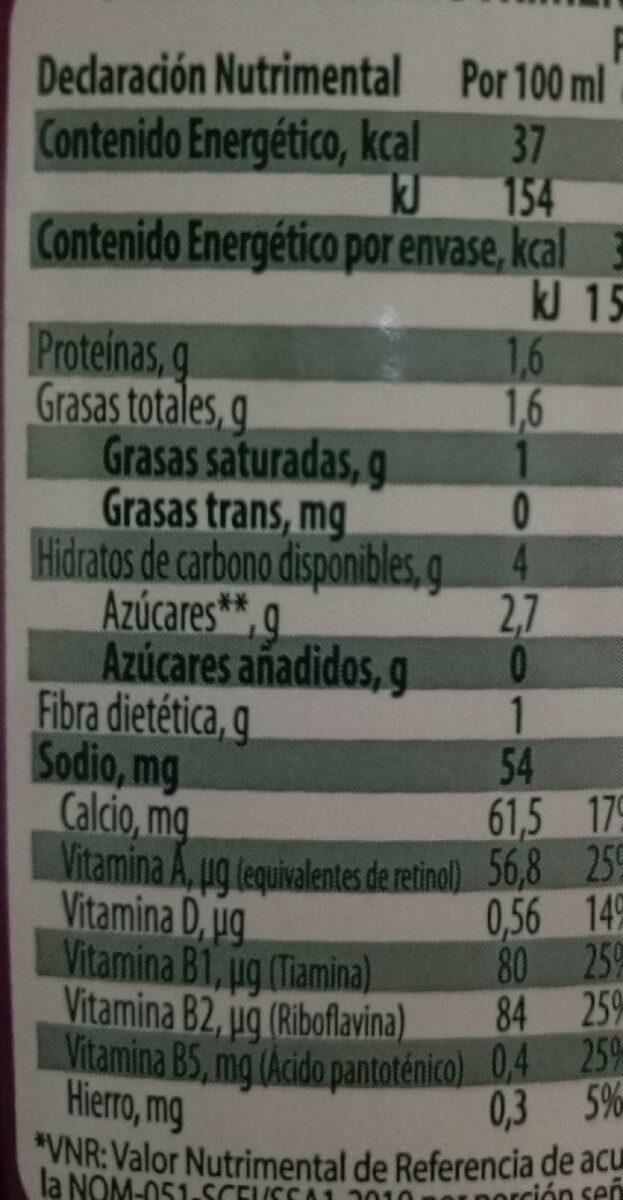 Nutri deslactosada - Información nutricional - es