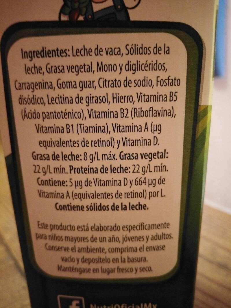 Nutri Leche - Ingredientes - es