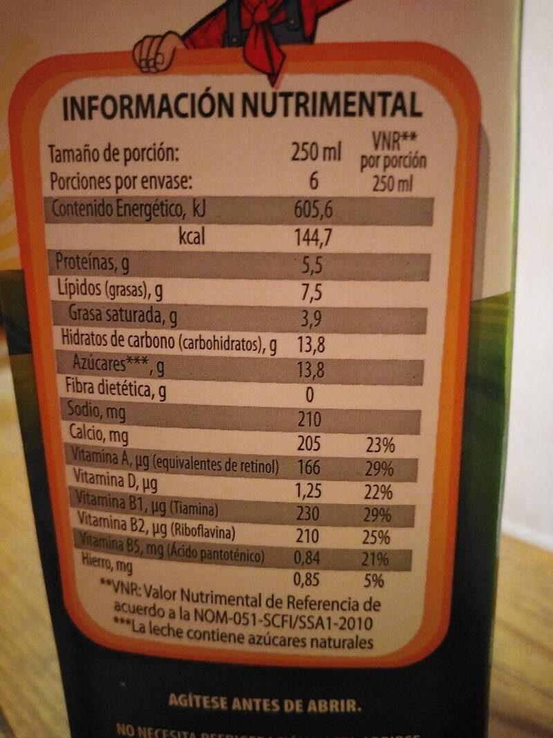 Nutri Leche - Información nutricional - es