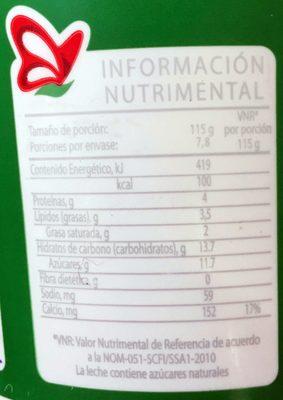 Yoghurt Natural Deslactosado - Nutrition facts - es