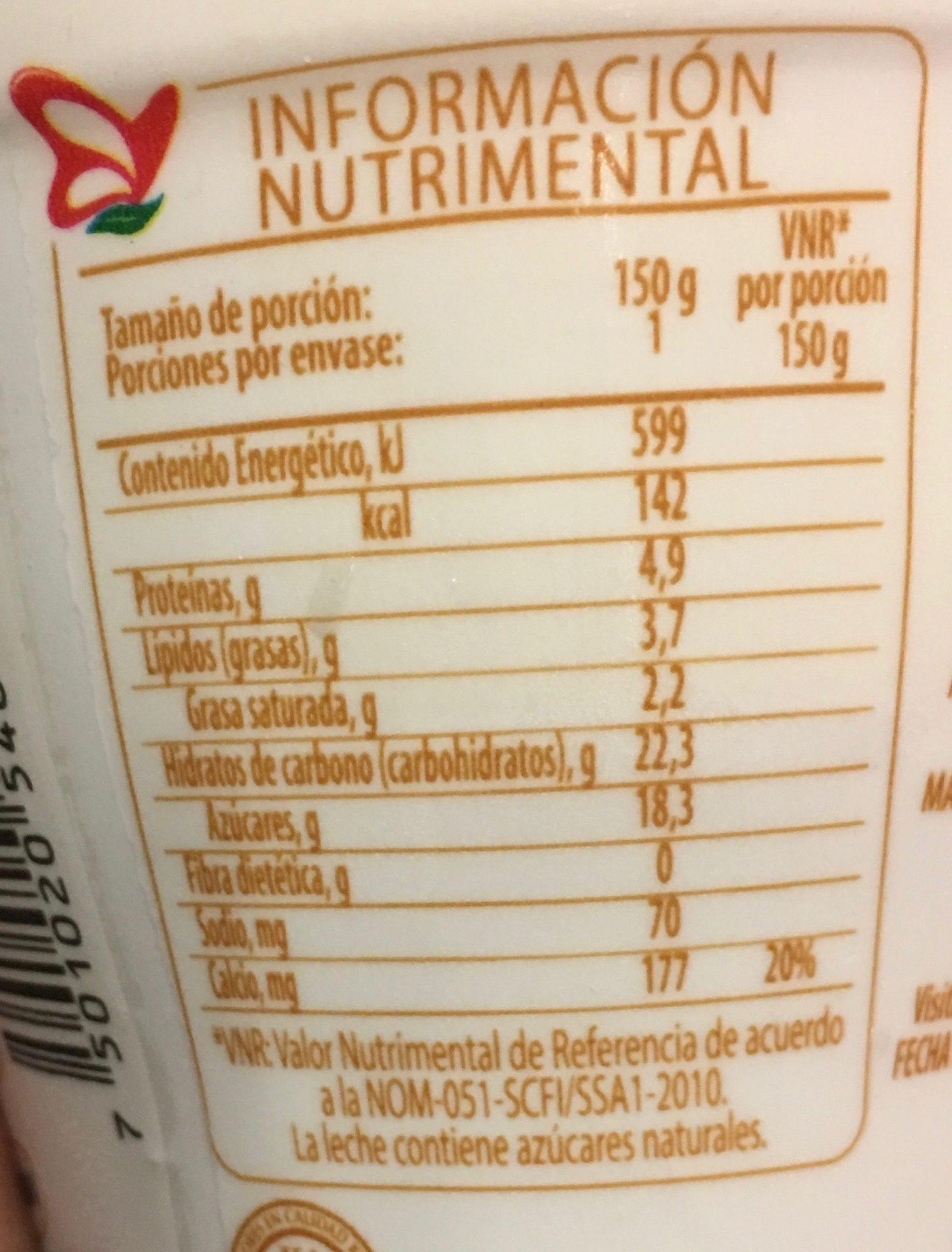 Yogur Semillas Lala - Nutrition facts - es