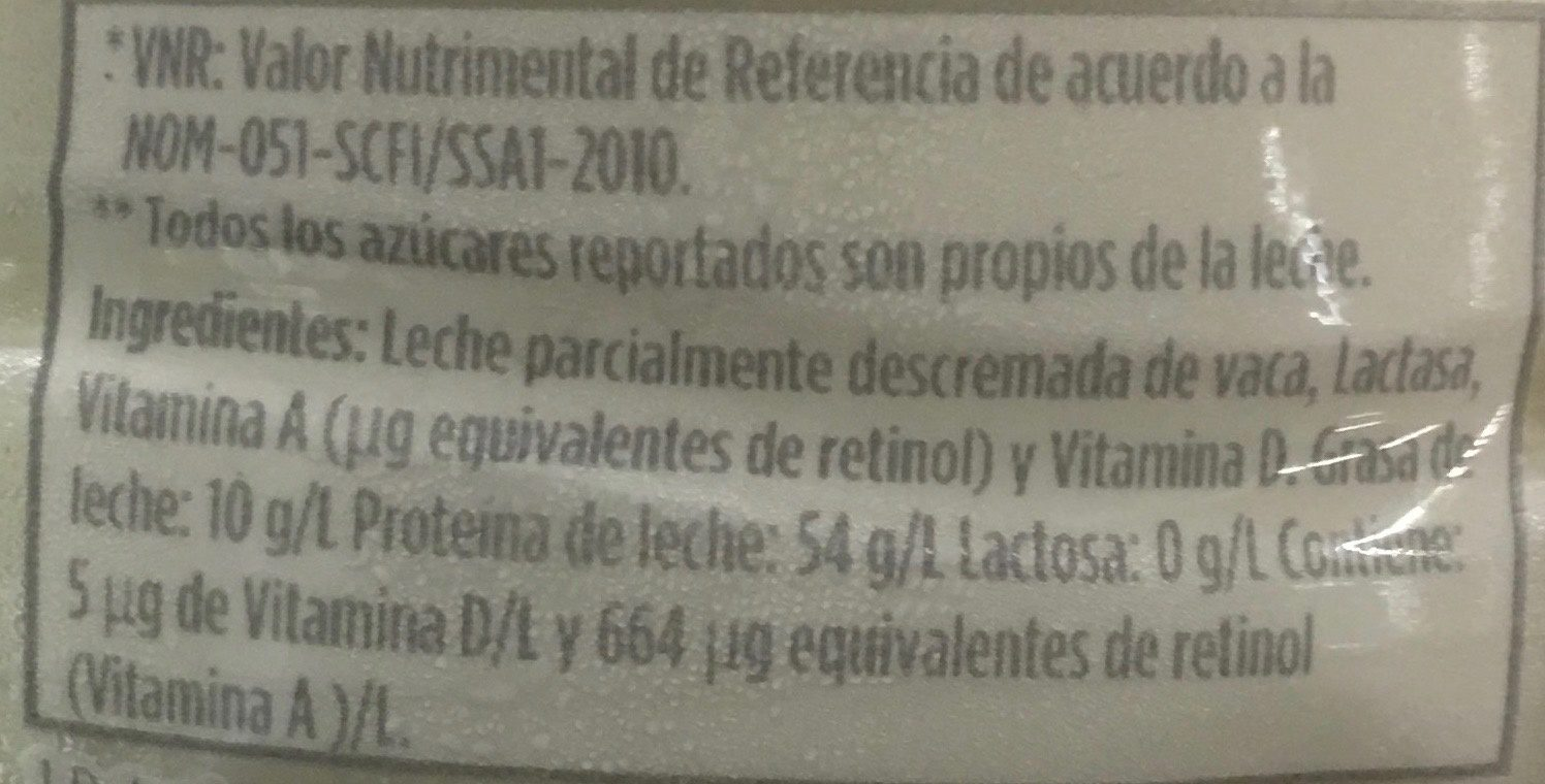 Leche Lala 100 sin lactosa - Ingrediënten - es
