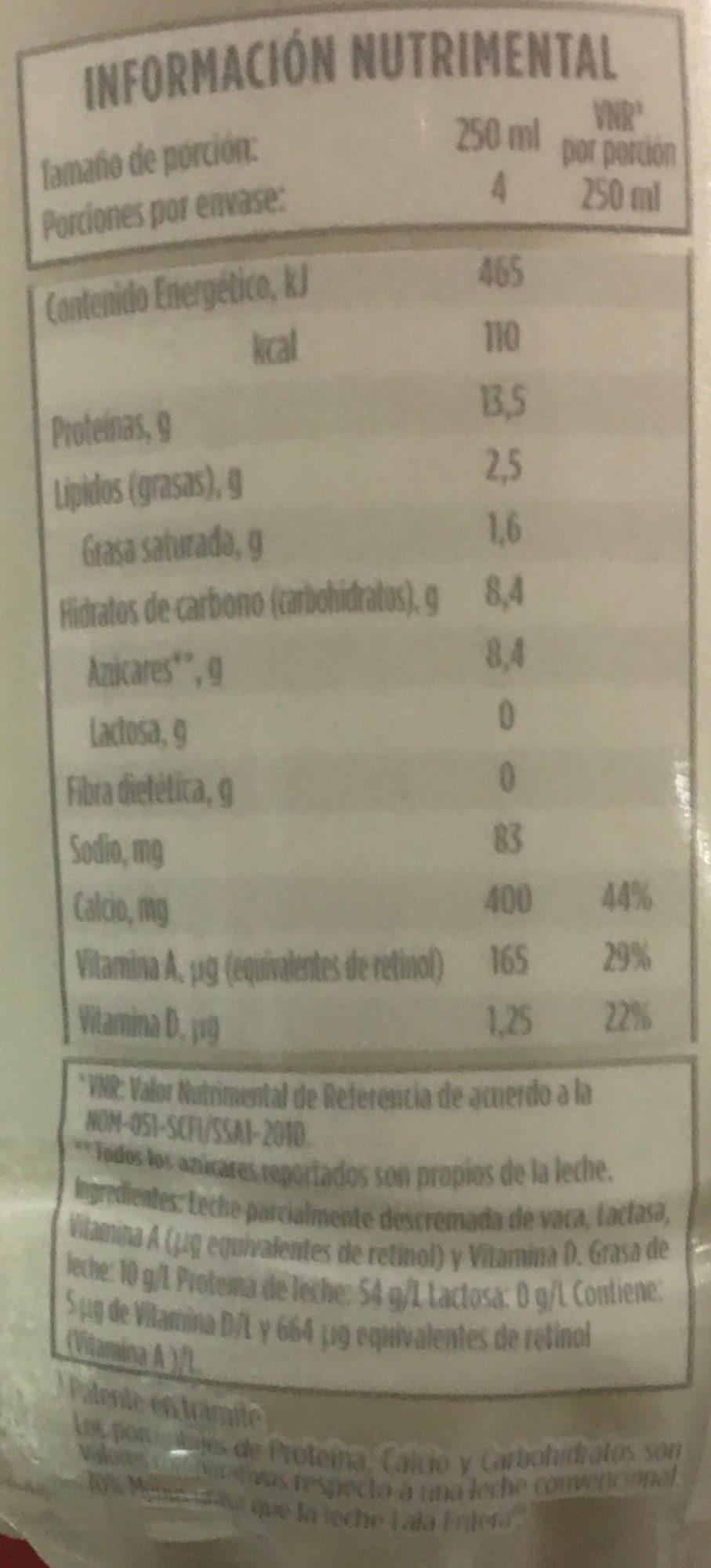 Leche Lala 100 sin lactosa - Voedingswaarden - es