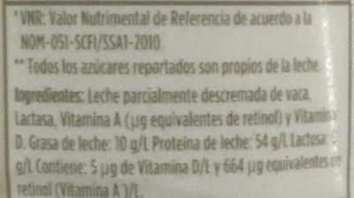 Leche Lala 100 sin lactosa reducida en grasas - Ingrédients