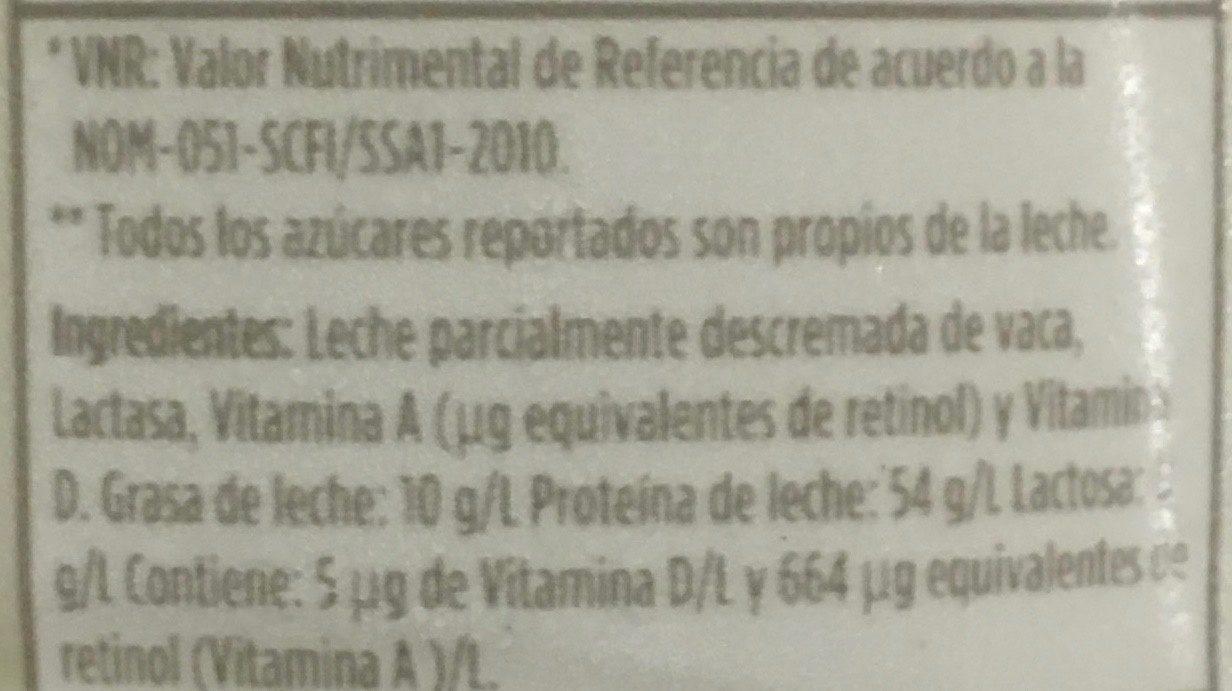 Leche Lala 100 sin lactosa reducida en grasas - Ingrédients - es