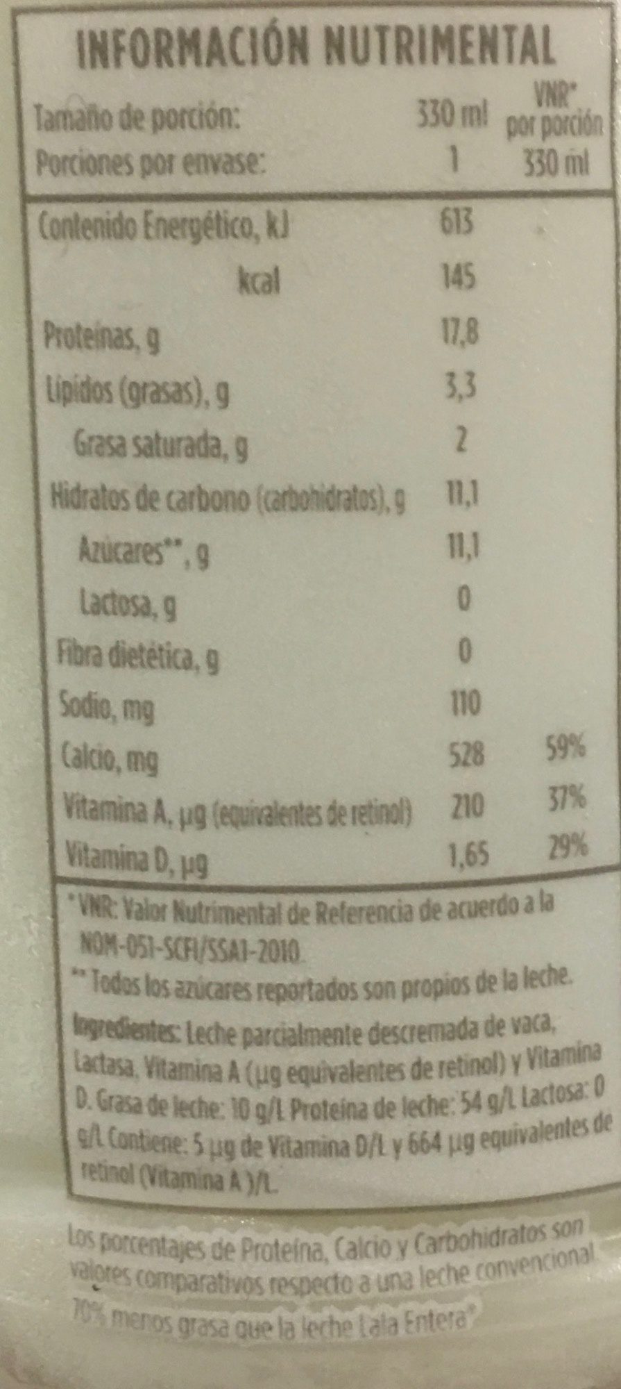 Leche Lala 100 sin lactosa reducida en grasas - Informations nutritionnelles - es