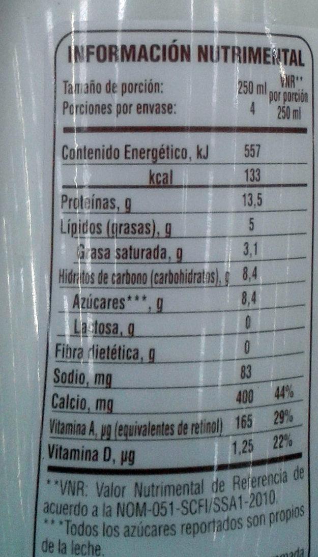 Lala 100 sin lactosa - Informations nutritionnelles - es