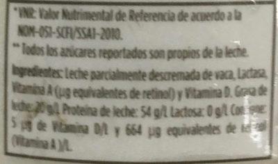 Leche Lala 100 sin lactosa parcialmente descremada - Ingredientes - es