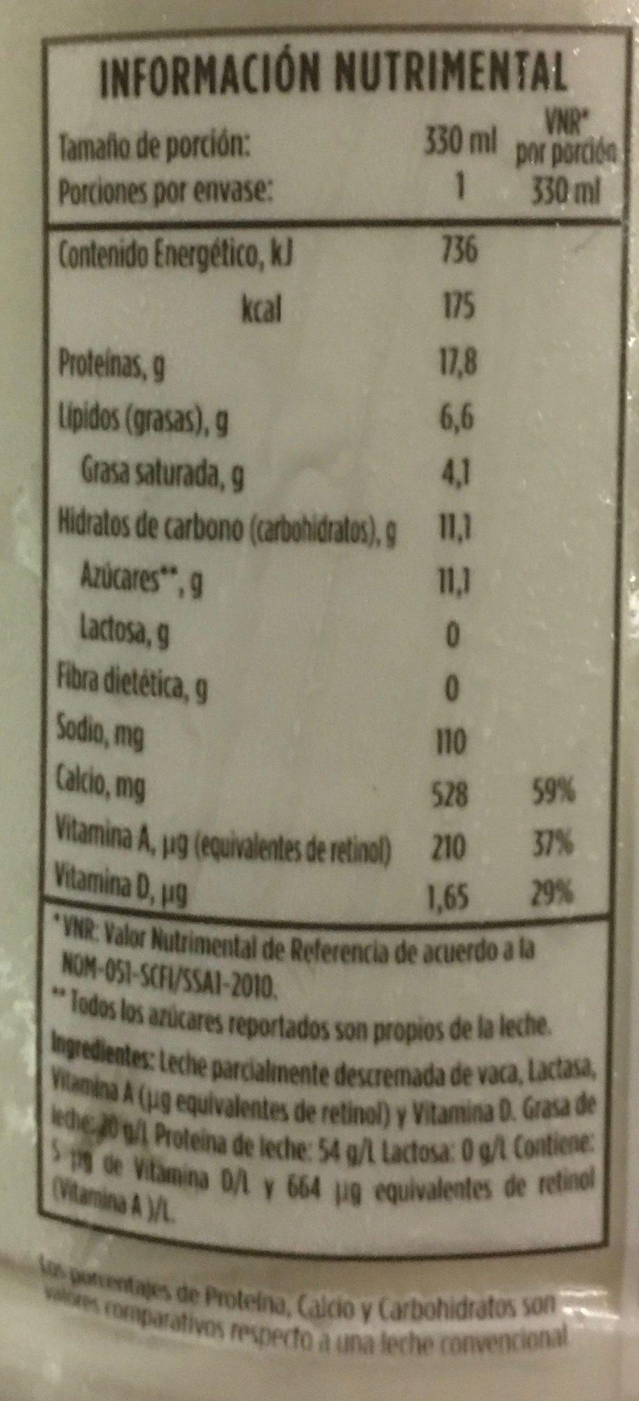 Leche Lala 100 sin lactosa parcialmente descremada - Información nutricional - es