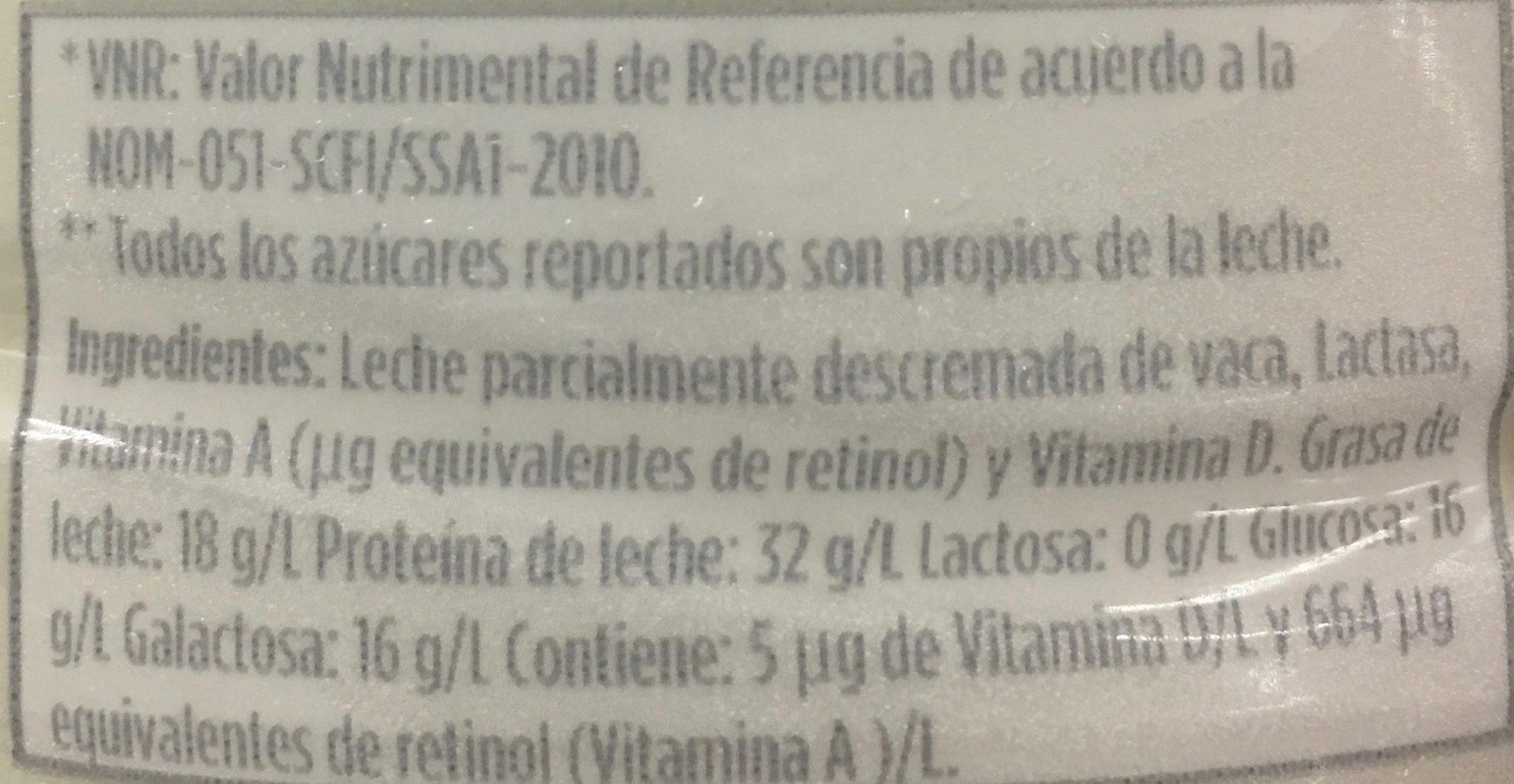 Leche Lala sin lactosa reducida en grasa - Ingrédients - es