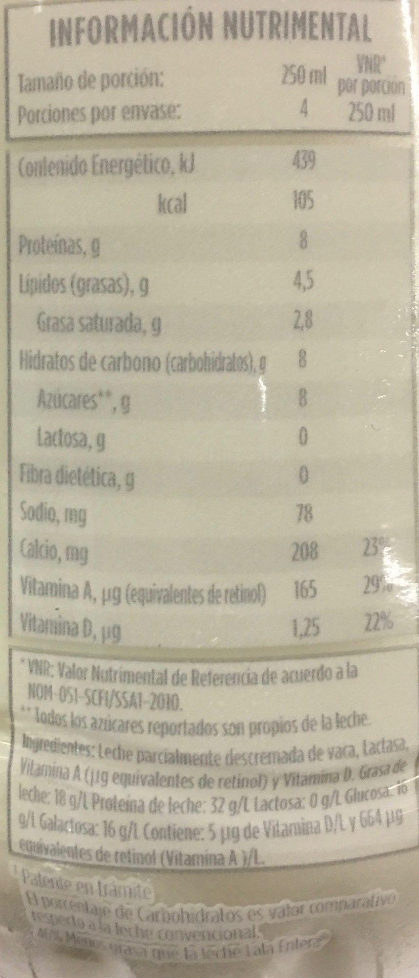 Leche Lala sin lactosa reducida en grasa - Informations nutritionnelles - es