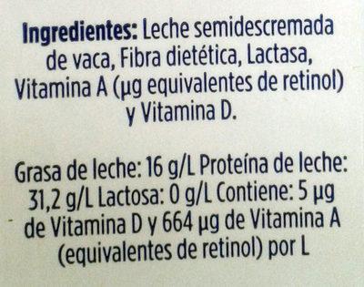 Leche fibra deslactosada LALA - Ingrédients