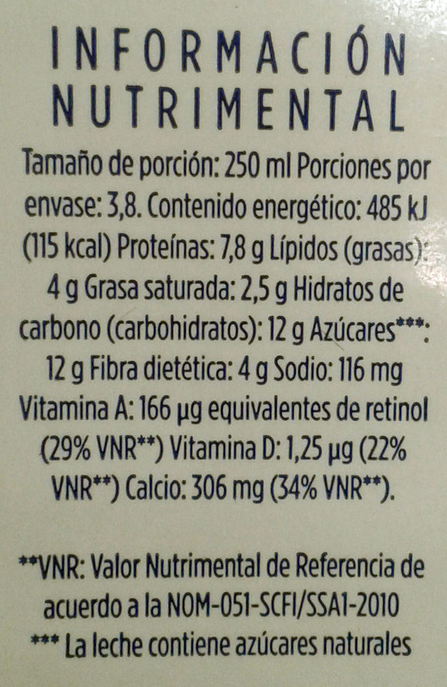 Leche fibra deslactosada LALA - Informations nutritionnelles