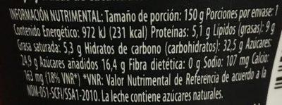 Yogur Delicias Red Velvet Lala - Voedingswaarden - es