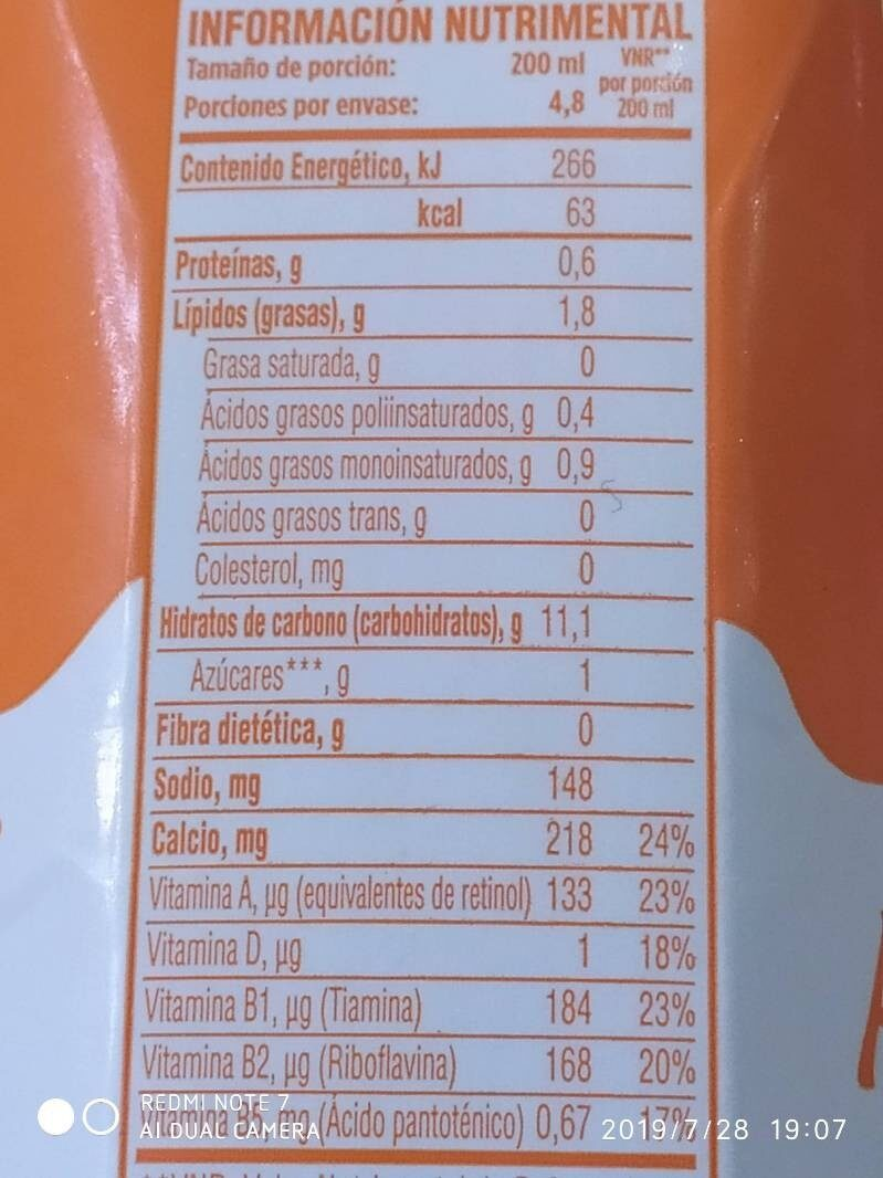 Leche de Almendras - Nutrition facts - es