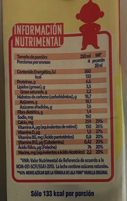 Yomi sabor vainilla - Voedingswaarden