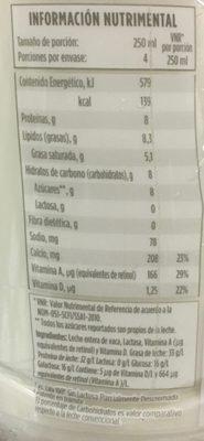 Leche Entera Lala 100 sin Lactosa - Informations nutritionnelles