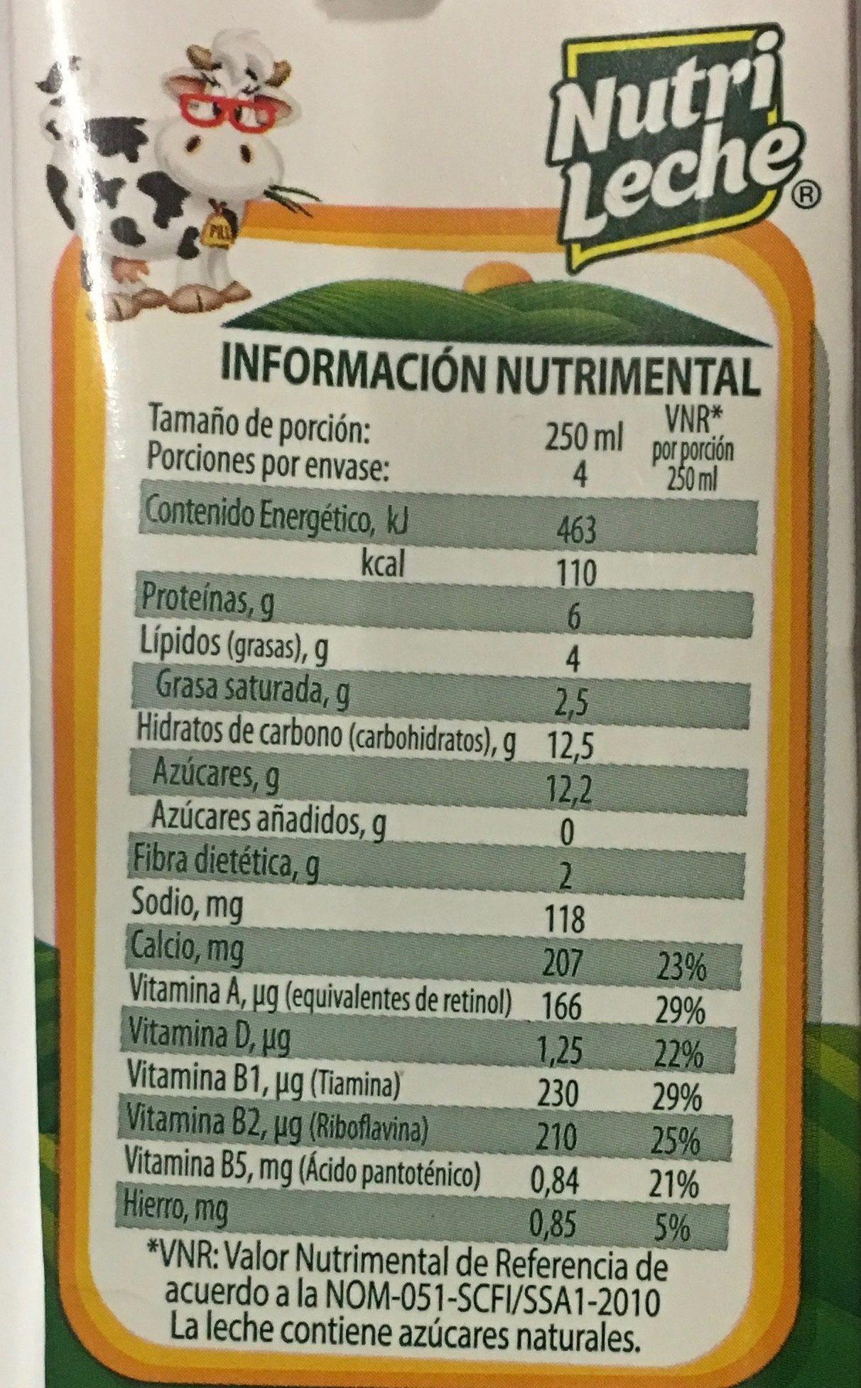 Nutri Leche Licuado Sabor chocolate y plátano - Voedingswaarden - es