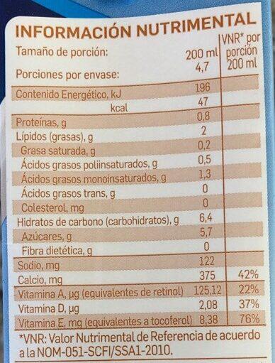 Almond breeze - Información nutricional - es