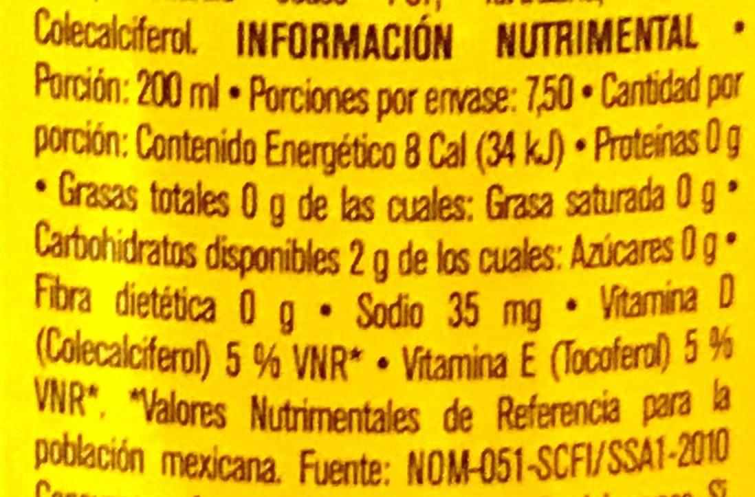 Agua con jugo de mango - Nutrition facts - es