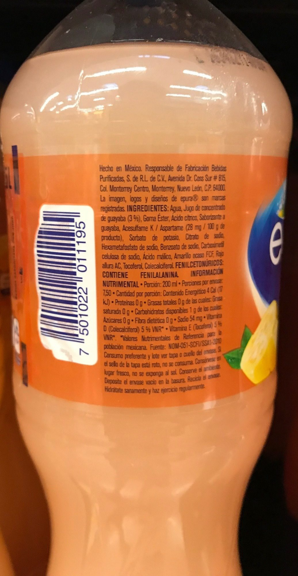 Agua con jugo de guayaba - Nutrition facts - es