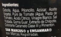 Cebollas caramelizadas San Marcos - Ingrédients