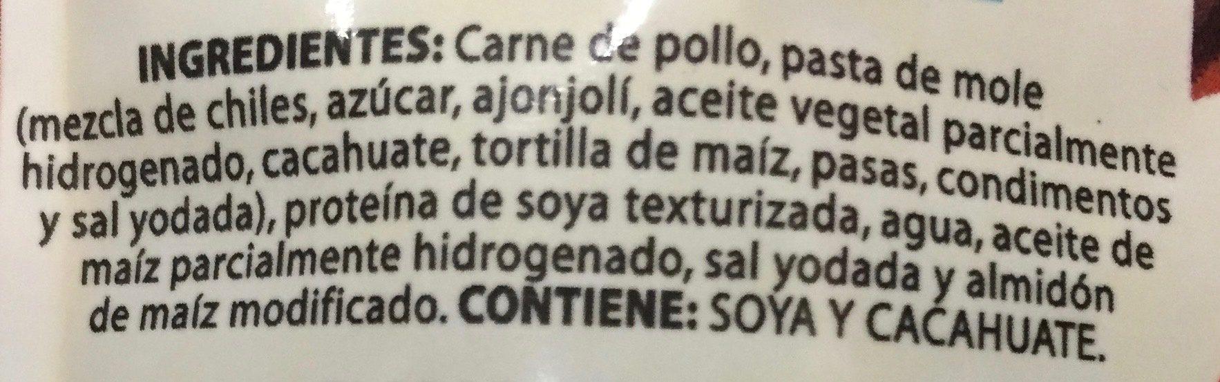 POLLO EN MOLE - Ingredientes - es