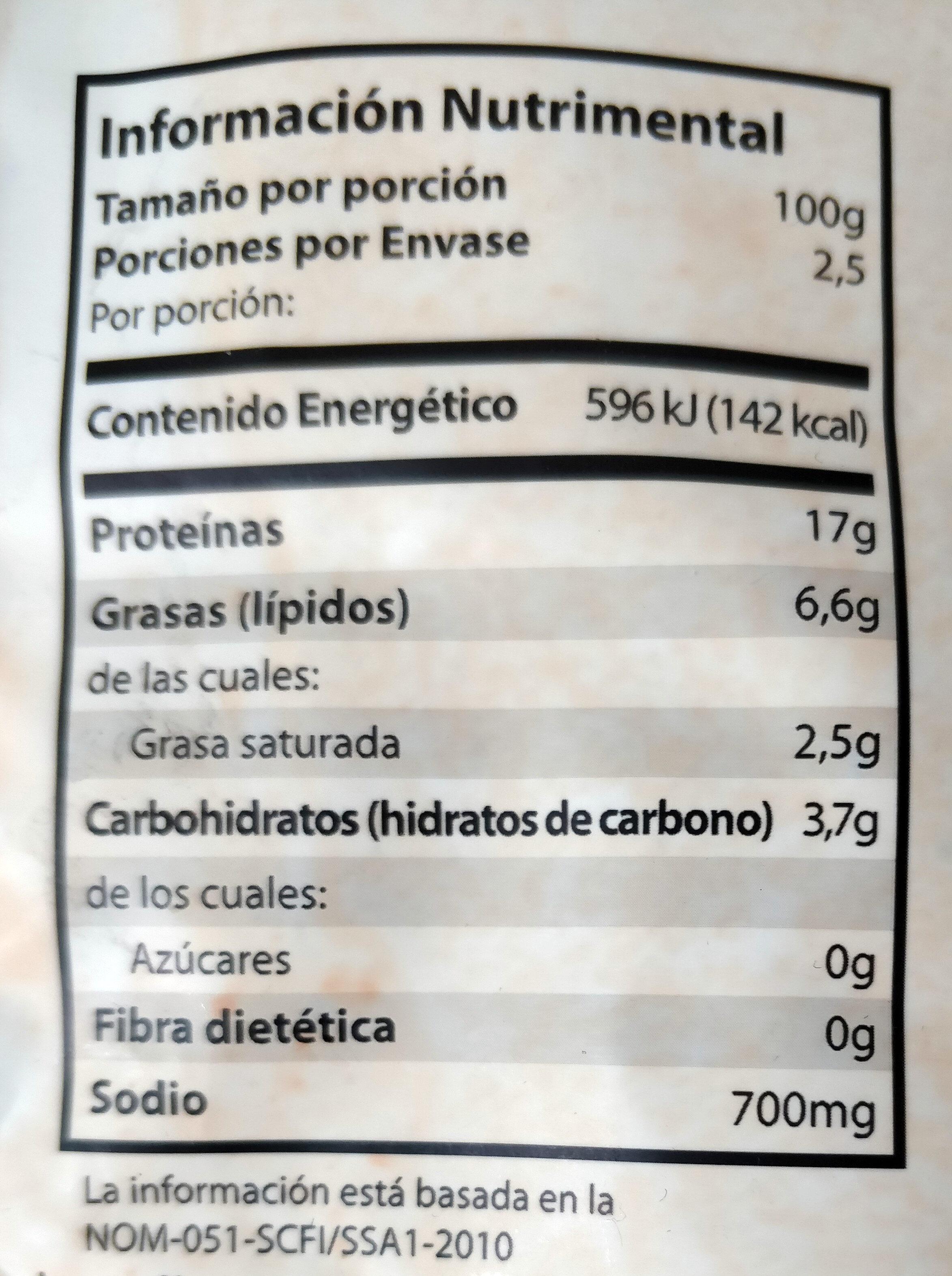 Chata, cochinita pibil shredded pork meat - Nutrition facts - en