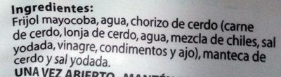 Frijoles refritos con chorizo ranchero Chata - Ingrediënten